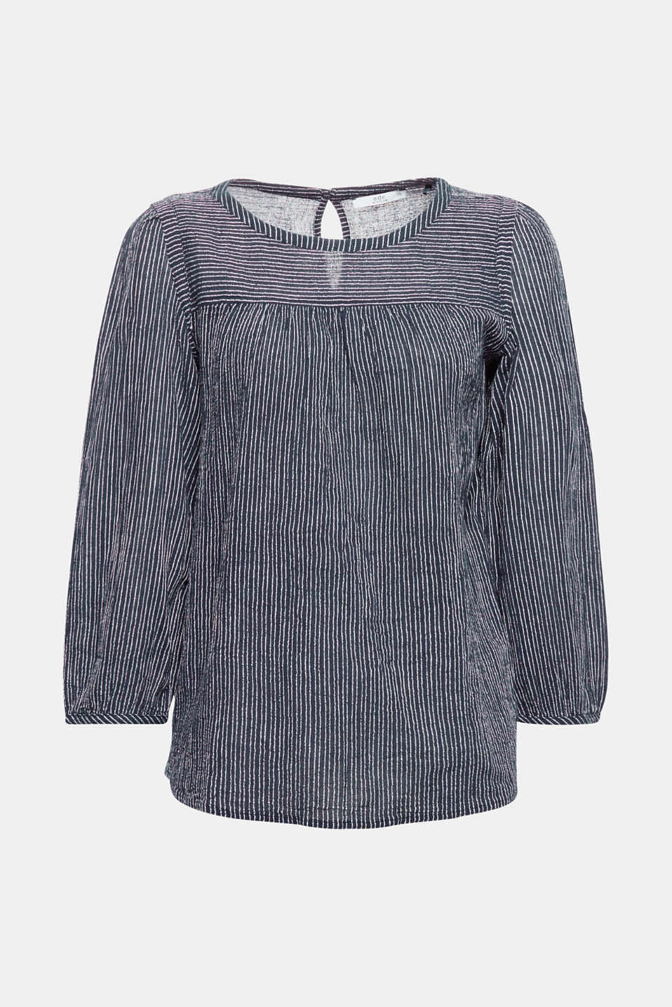 Fine textured stripes make this piece easier to iron and create cool comfort when wearing! The yoke on the front, narrow frills on the shoulders and mock balloon sleeves create a romantic flair.