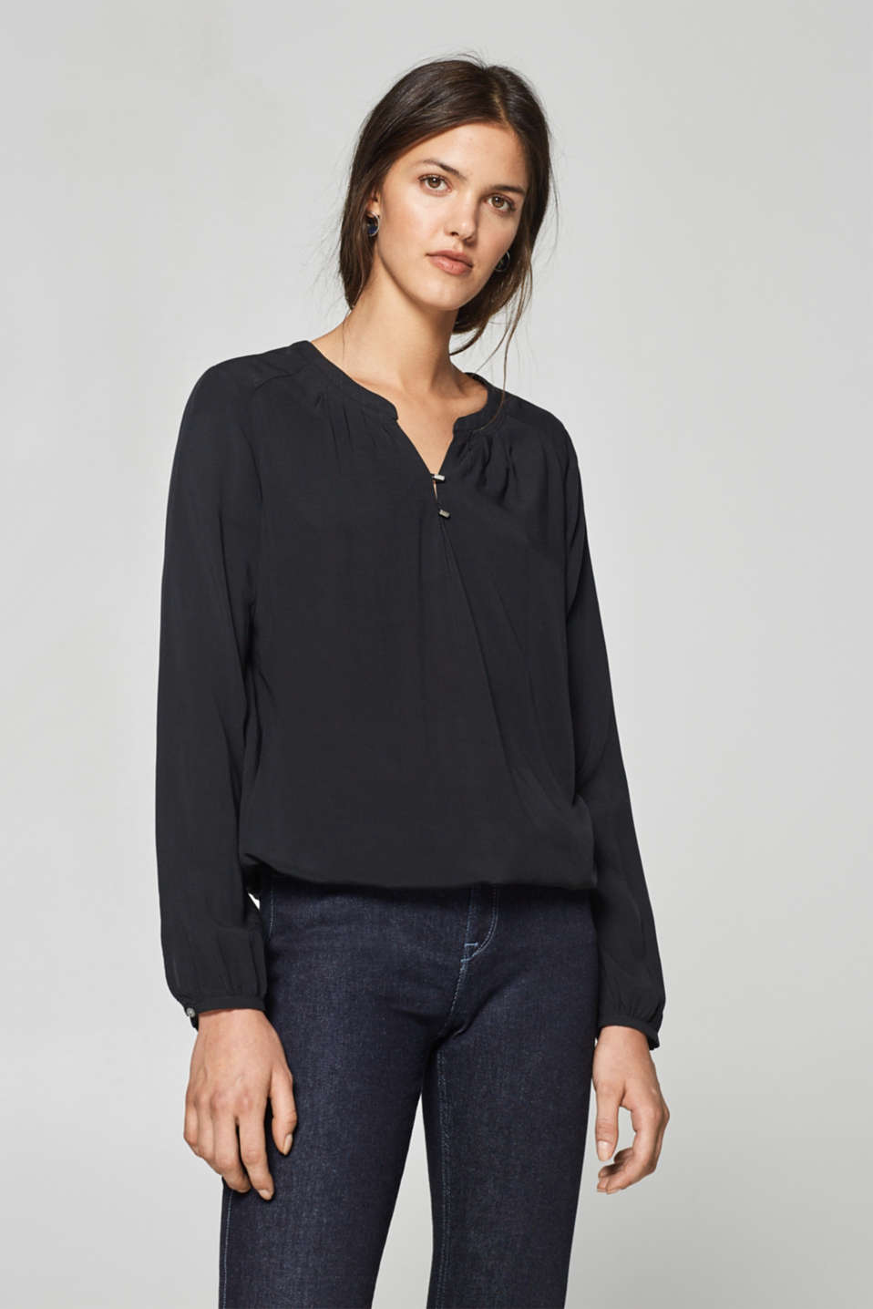 edc - Henley blouse with an elasticated waistband