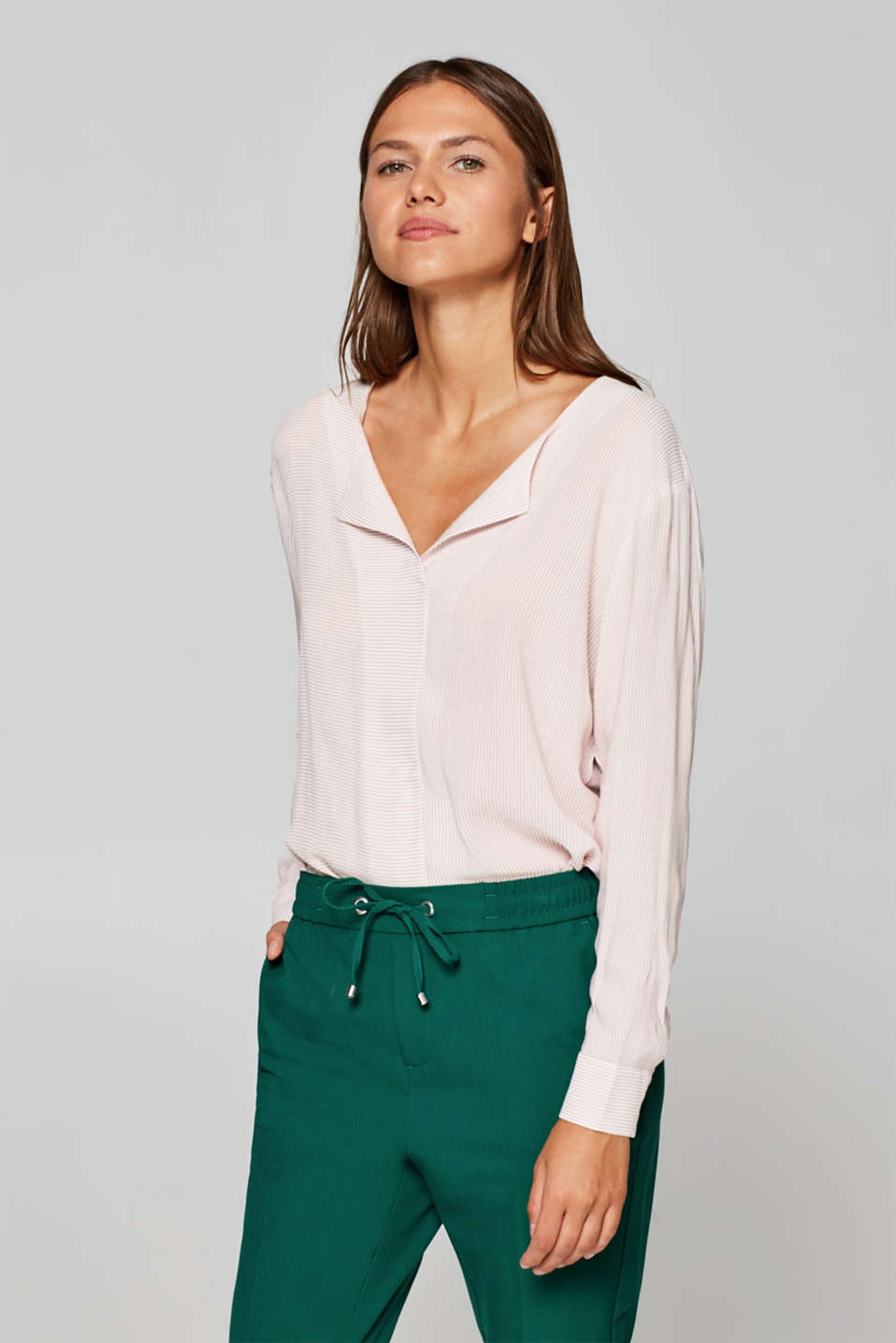 edc - Textured blouse with fine stripes