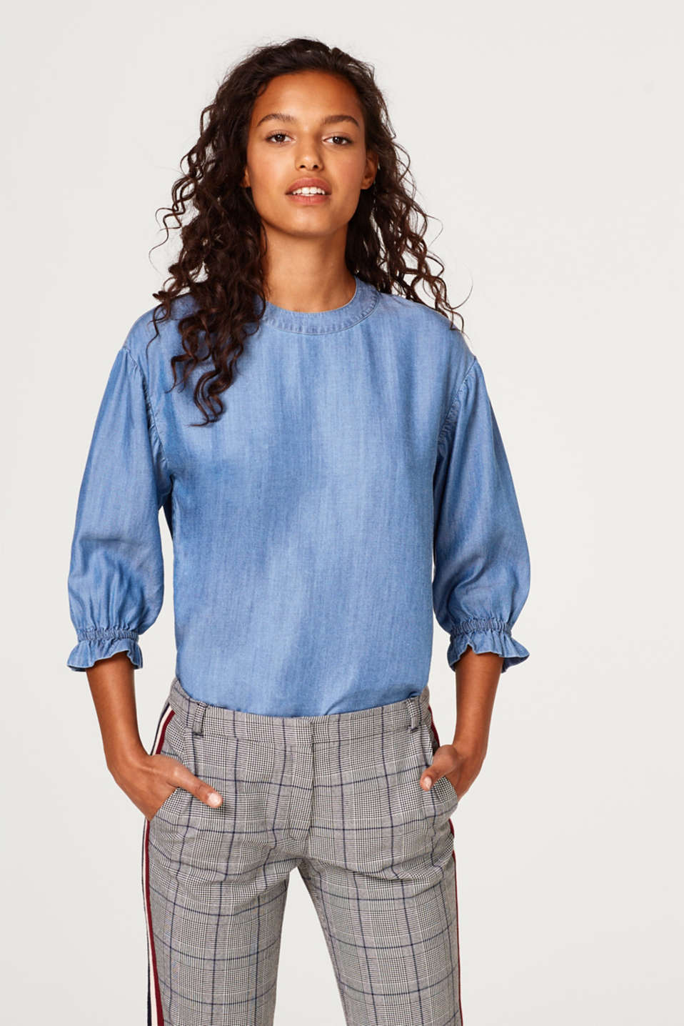 edc - Lyocell blouse with cropped balloon sleeves