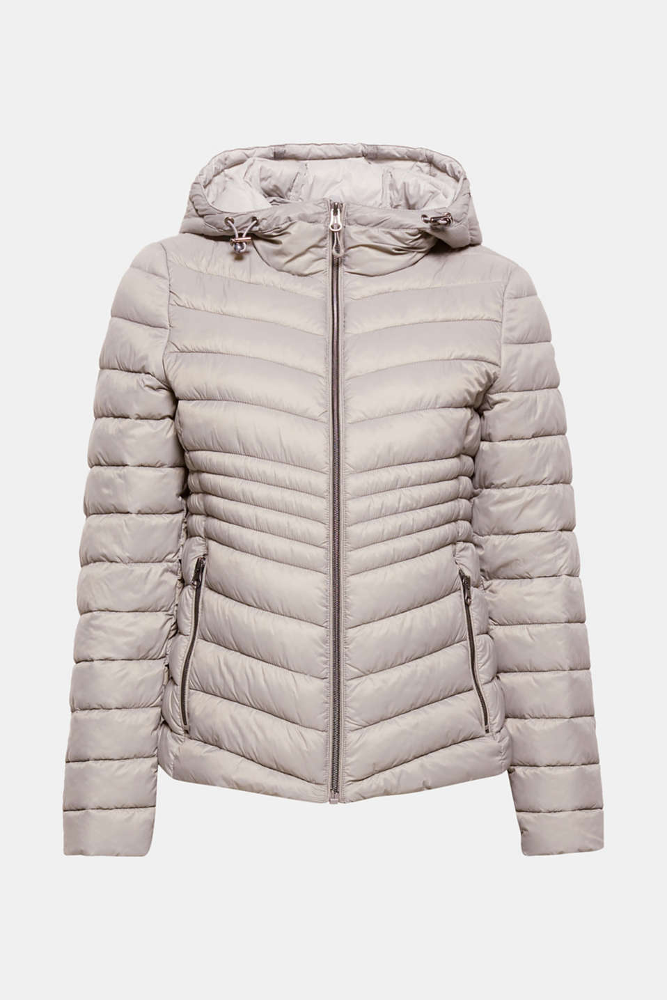 This lightweight quilted jacket is ultra functional and has Thinsulate padding and a sporty hood that retains body heat.