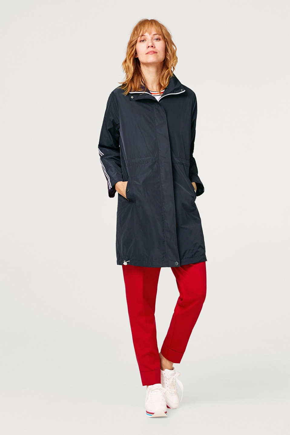 Functional nylon coat with jersey lining