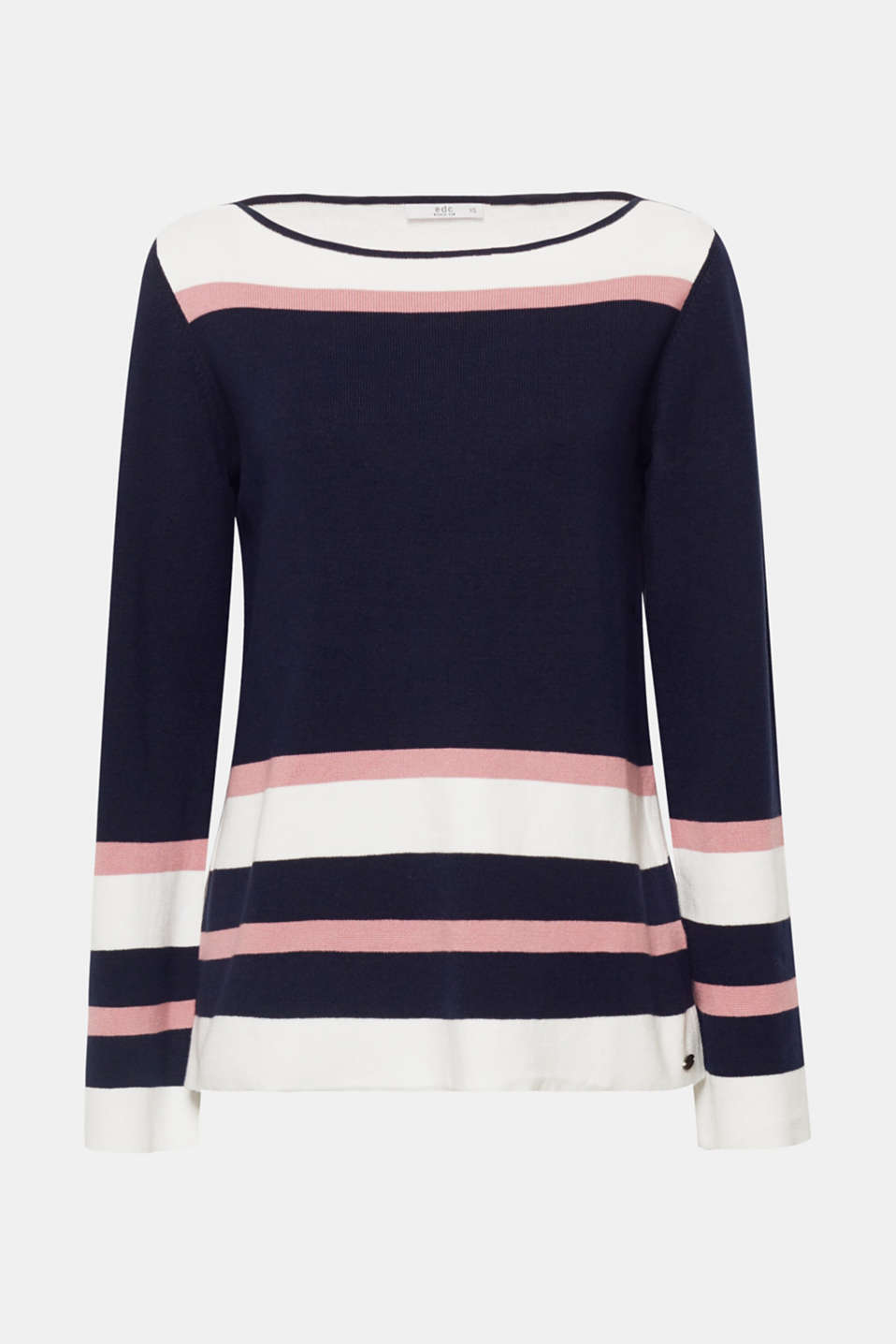 This casual, figure-skimming jumper in stocking stitch knit composed of high-quality cotton fabric is the perfect companion for relaxed, everyday looks.