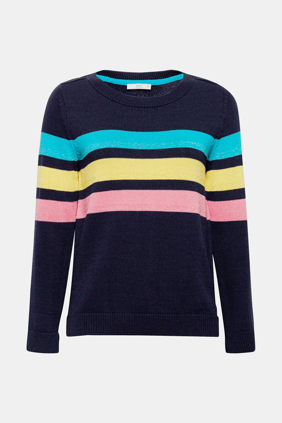 The perfect combination of lightweight knit fabric and colourful stripes This fine knit jumper gets a particular fashionable twist thanks to the decorative stripes with a glitter effect.
