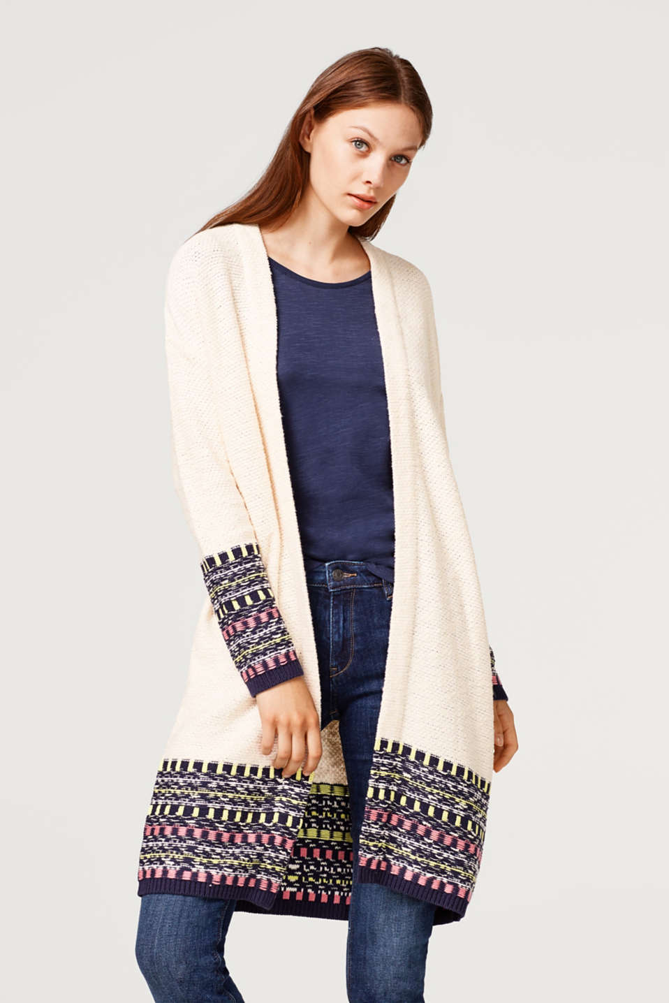 edc - Open-fronted jacquard cardigan with wool