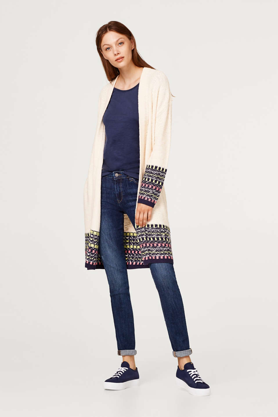 Open-fronted jacquard cardigan with wool