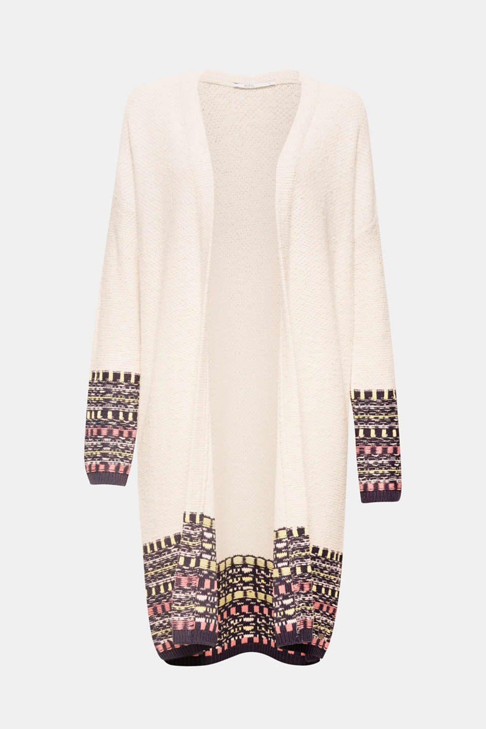 This open-fronted long cardigan wows with multi-coloured jacquard details plus a warming percentage of wool and is a modern knit favourite.