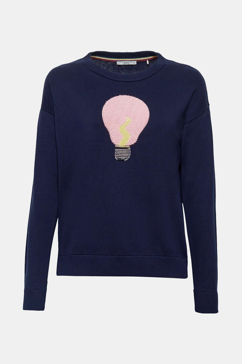 The light bulb motif in curly bouclé makes this fine knit jumper in pure cotton a stylish eye-catching piece.
