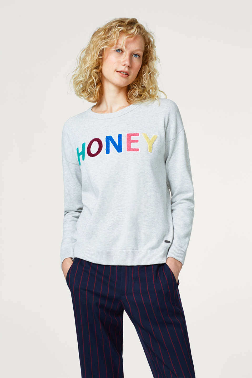 edc - Jumper with terrycloth lettering, 100% cotton