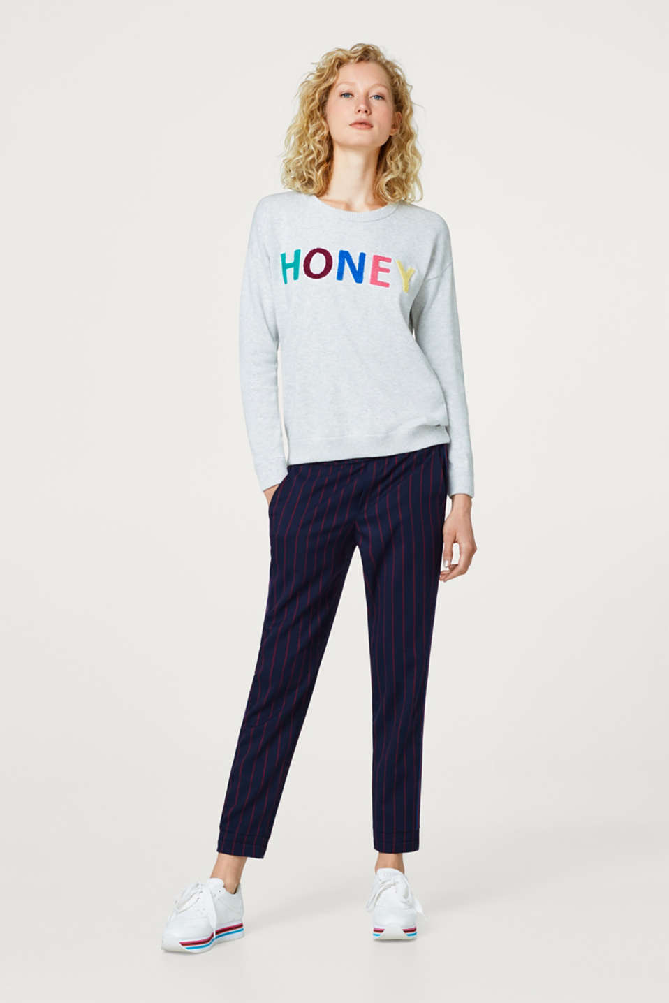 Jumper with terrycloth lettering, 100% cotton