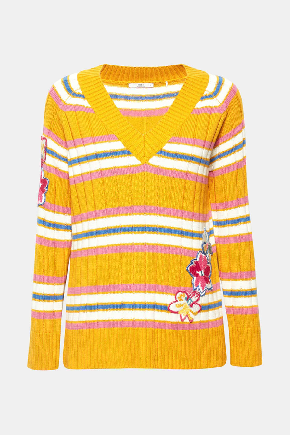 Whether in a plain colour or with colourful stripes: Elaborate, colourful floral appliqués decorate the sleeves and front of this sporty ribbed jumper and give it a brand new flair!