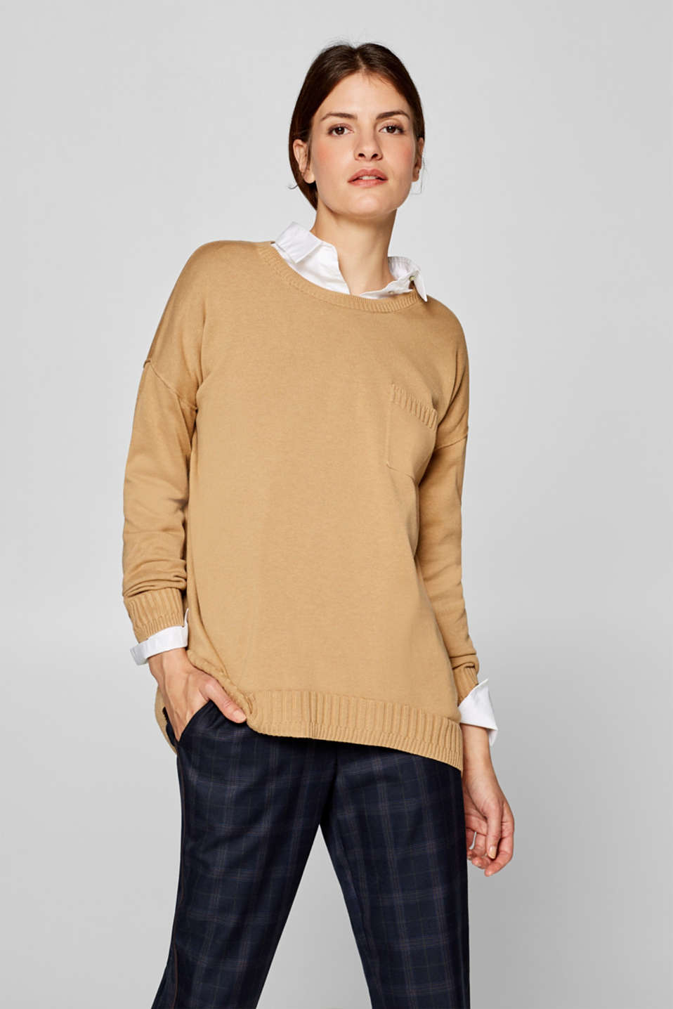 edc - Soft fine knit jumper with ribbed details