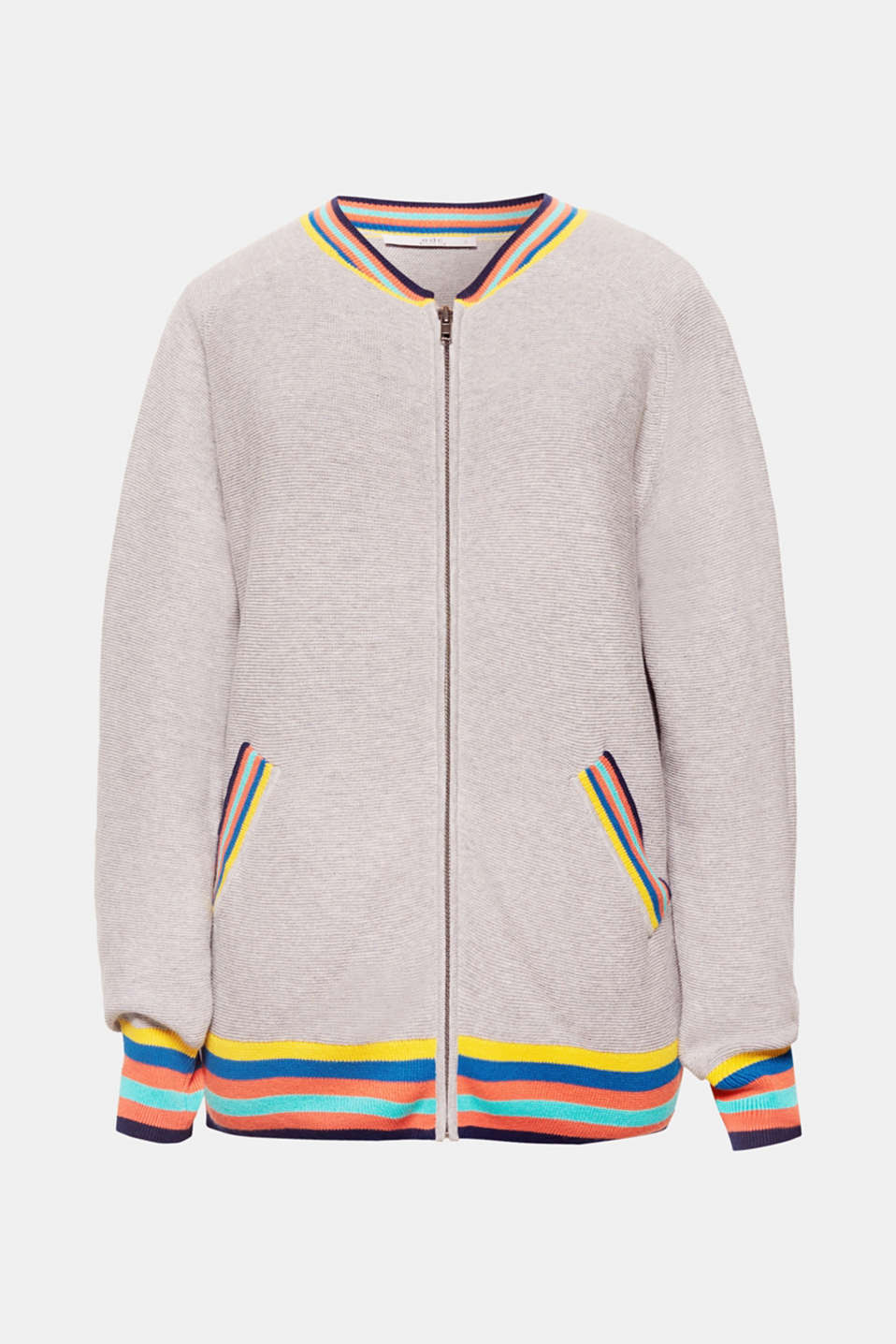 Bomber jacket with a new look, in a sporty textured knit with colourful striped edges.