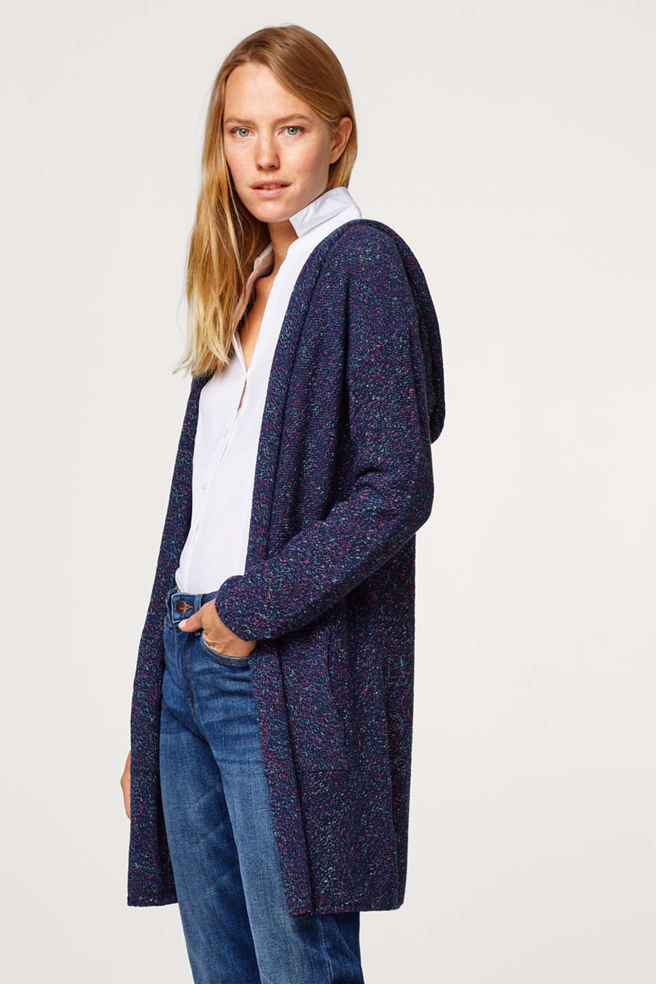 edc - Long mouliné hooded cardigan