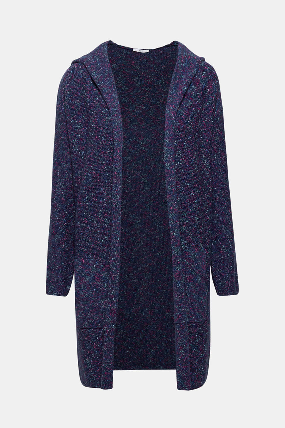 A comfortable, favourite piece with an especially attractive look, this hooded cardigan is made from knitted mouliné yarn, composed of differently coloured, thick fibres twisted together.
