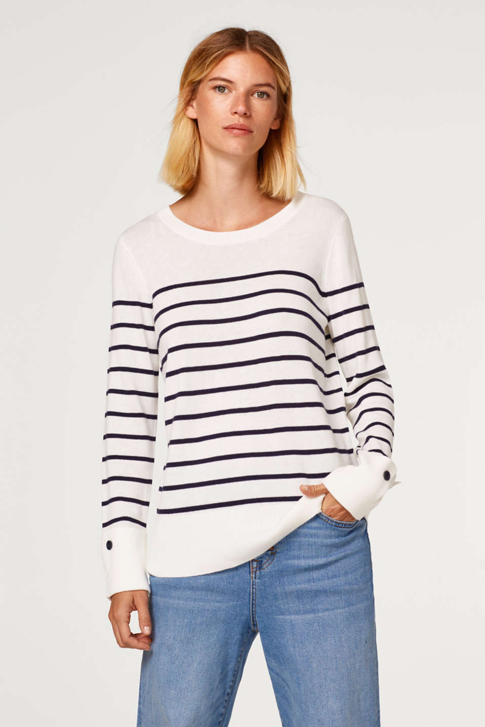 edc - Striped jumper with turn-up cuffs