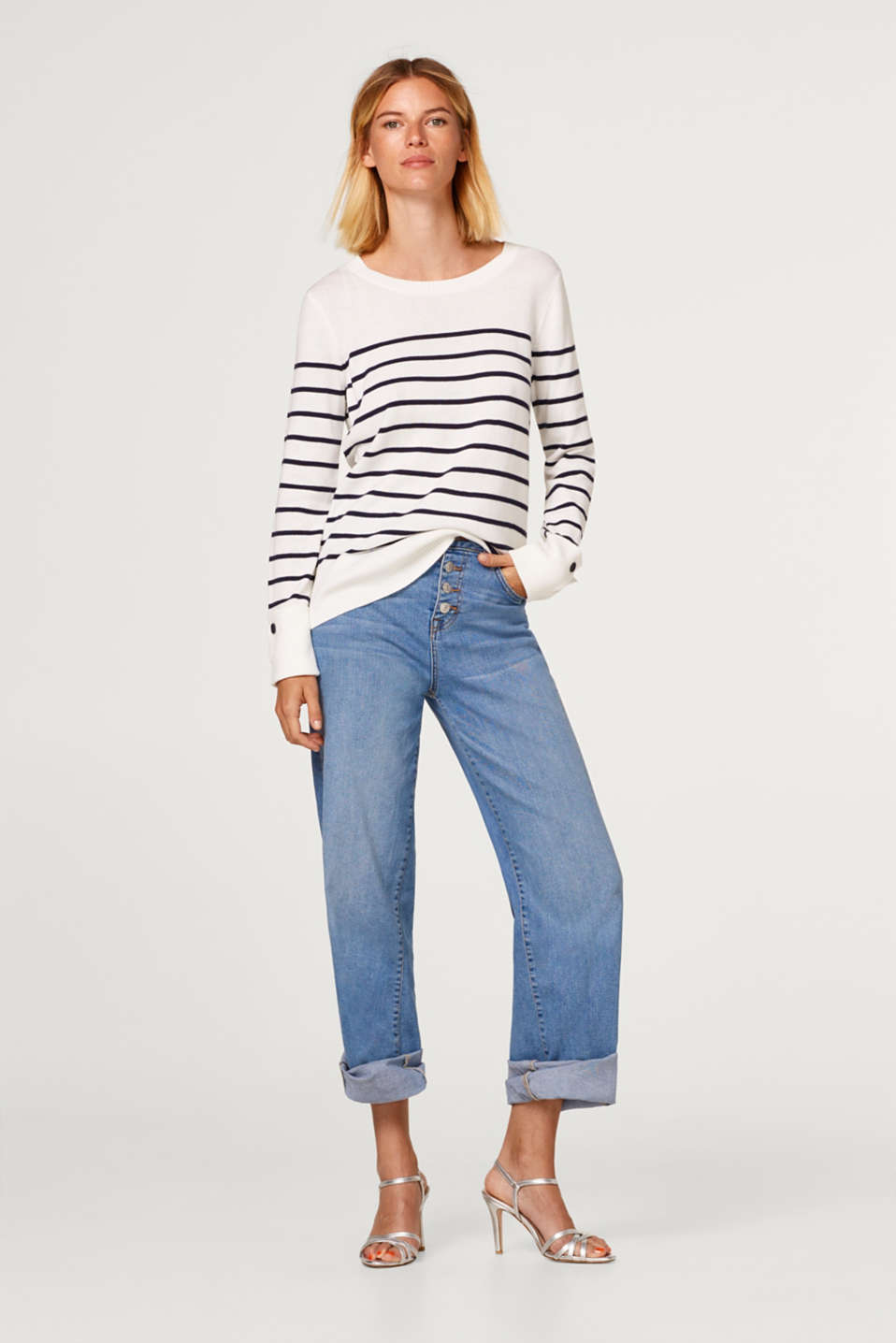 Striped jumper with turn-up cuffs