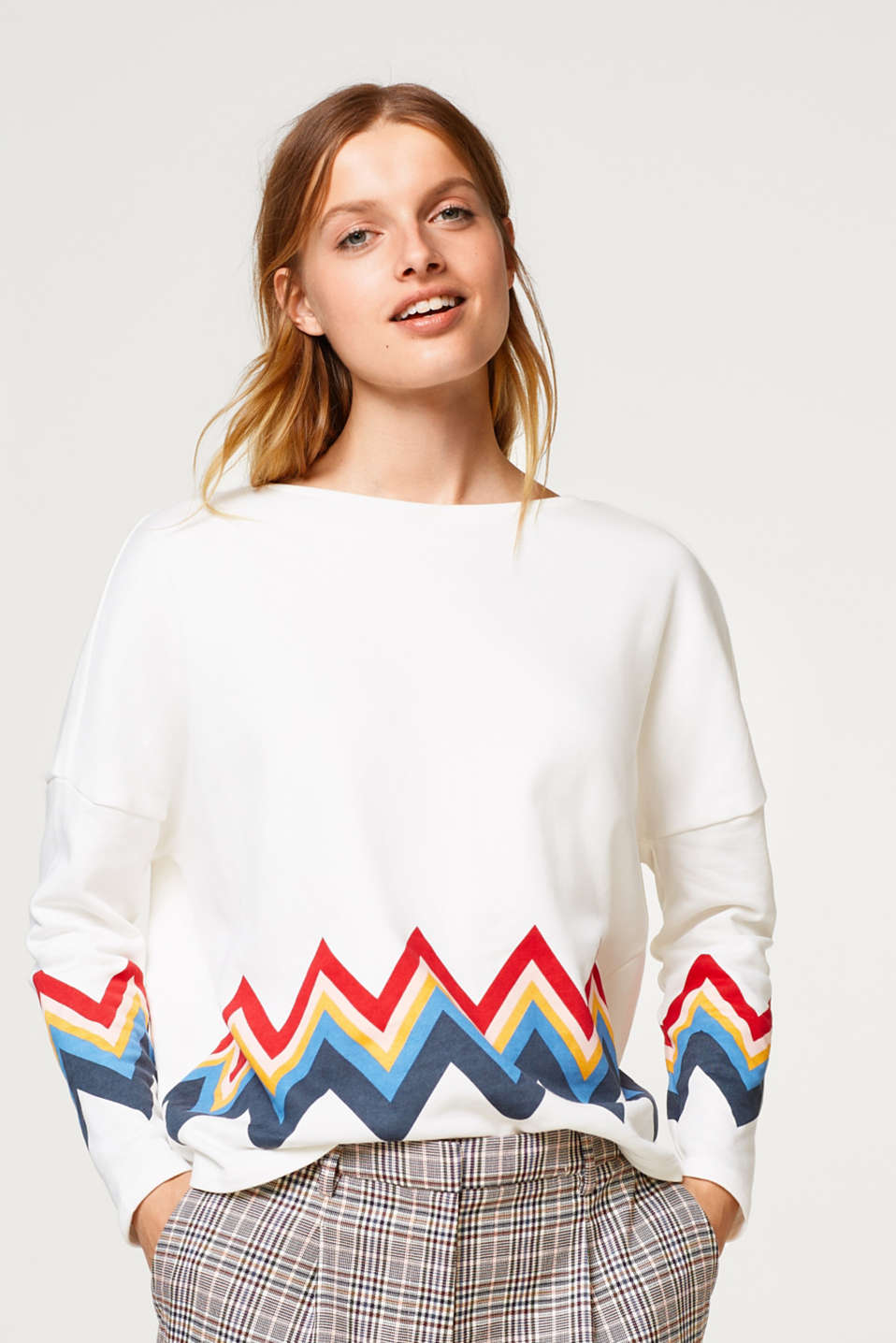edc - Sweatshirt with a zigzag print, 100% cotton