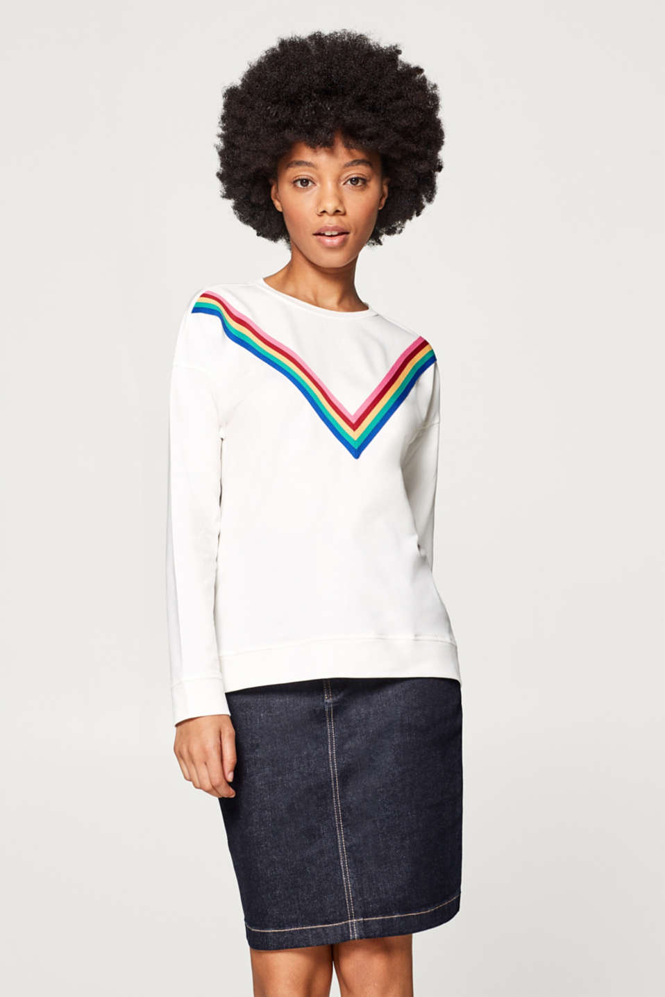 edc - Sweatshirt with appliquéd stripes