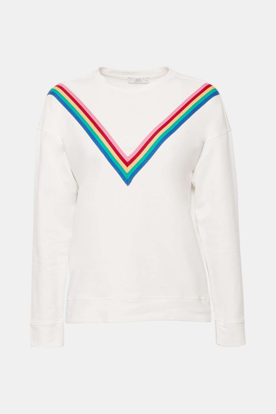 V is for victory: The appliquéd, colourful stripes give this lightweight sweatshirt made of stretch cotton a unique look!