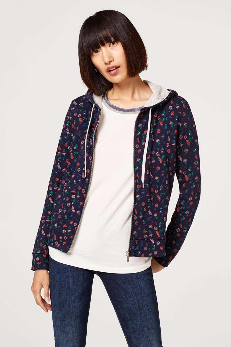 edc - Sweatshirt cardigan with a print and a hood