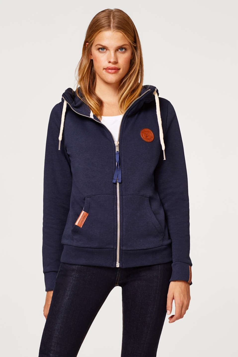 edc - Sweatshirt cardigan with a hood and contrasting cords