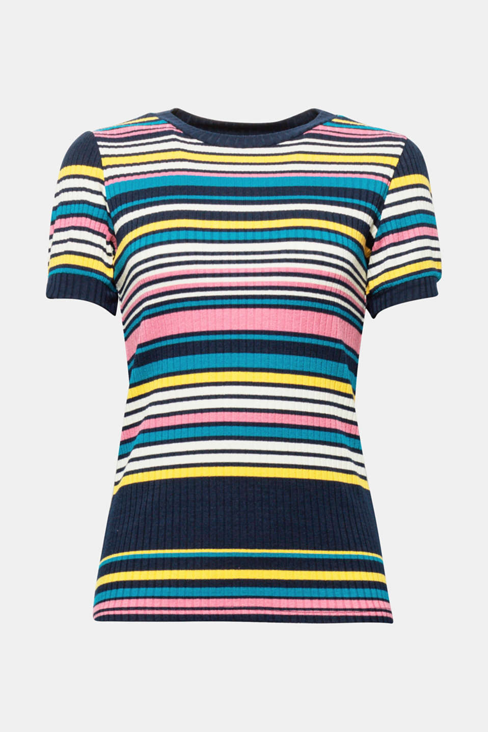 A colourful summer t-shirt in a trendy ribbed texture: this striped t-shirt with a round neckline in thick ribbed jersey adds plenty of colour to your outfits.