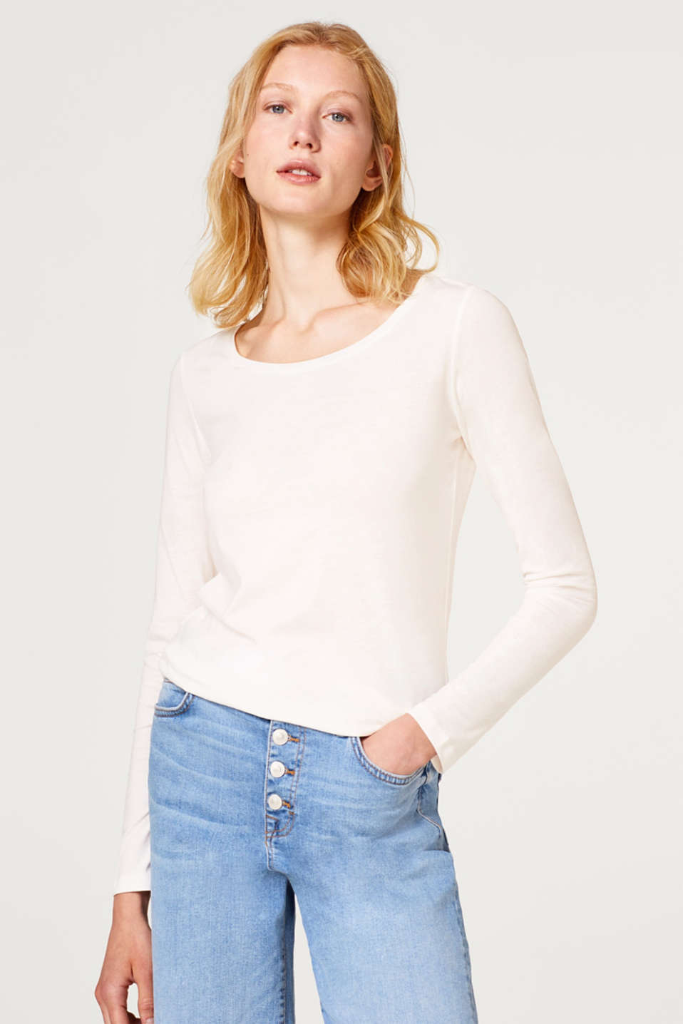 edc - Round neck long sleeve top with organic cotton