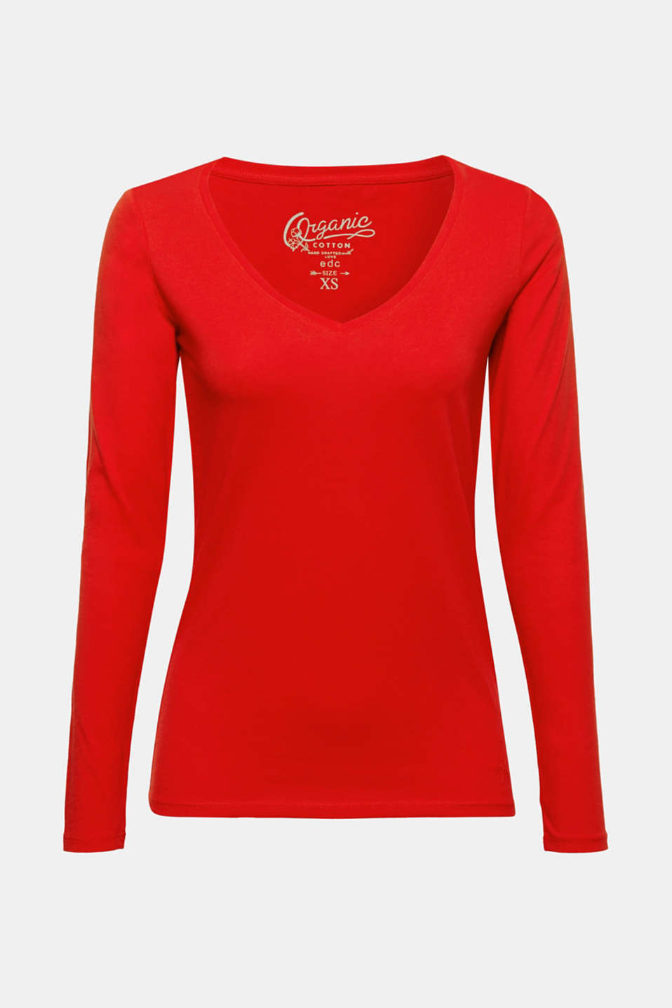 This long sleeve top with a generous V-neckline and environmentally friendly, high-quality organic cotton is the perfect essential for your look!