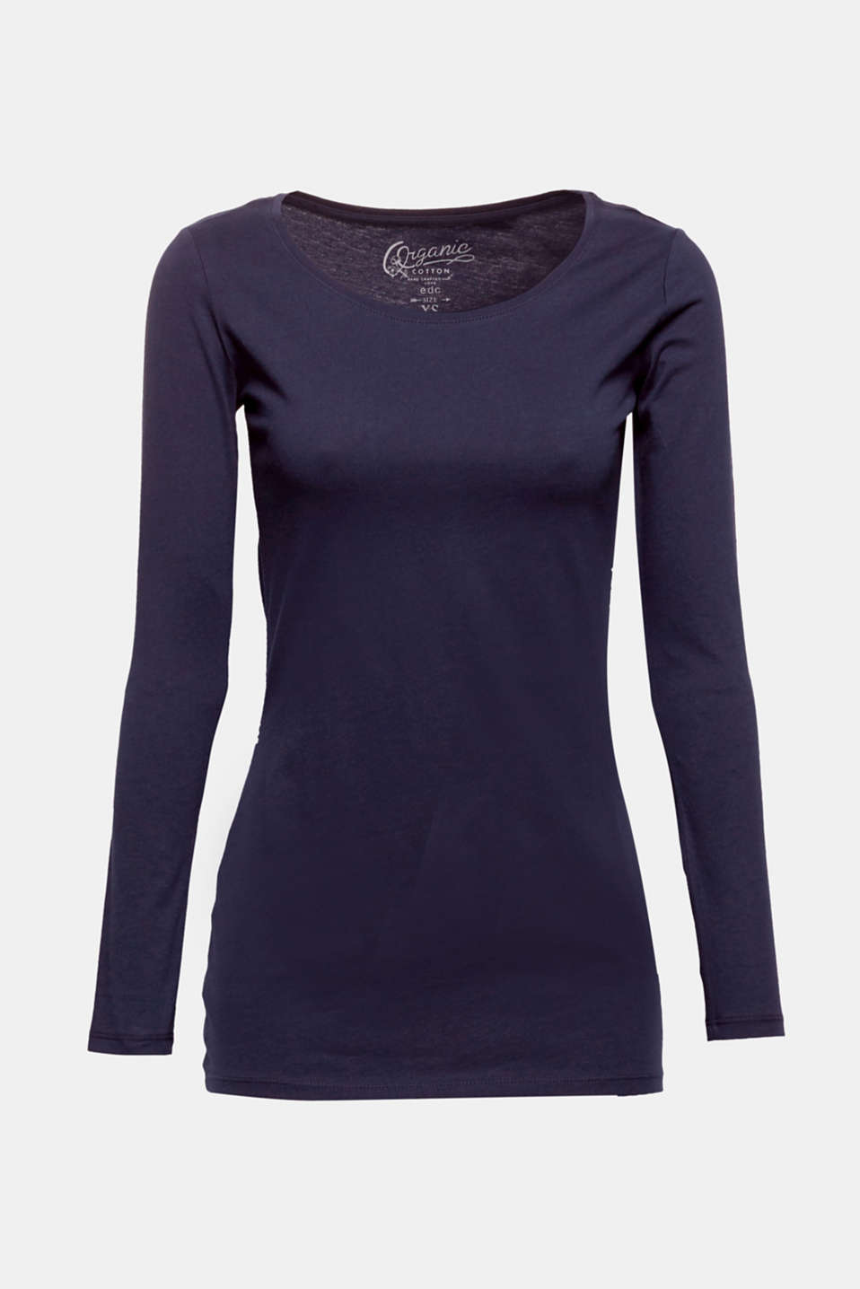 Your favourite essential: This basic long sleeve top containing environmentally friendly, high-quality organic cotton with a large round neckline can be combined with almost anything!