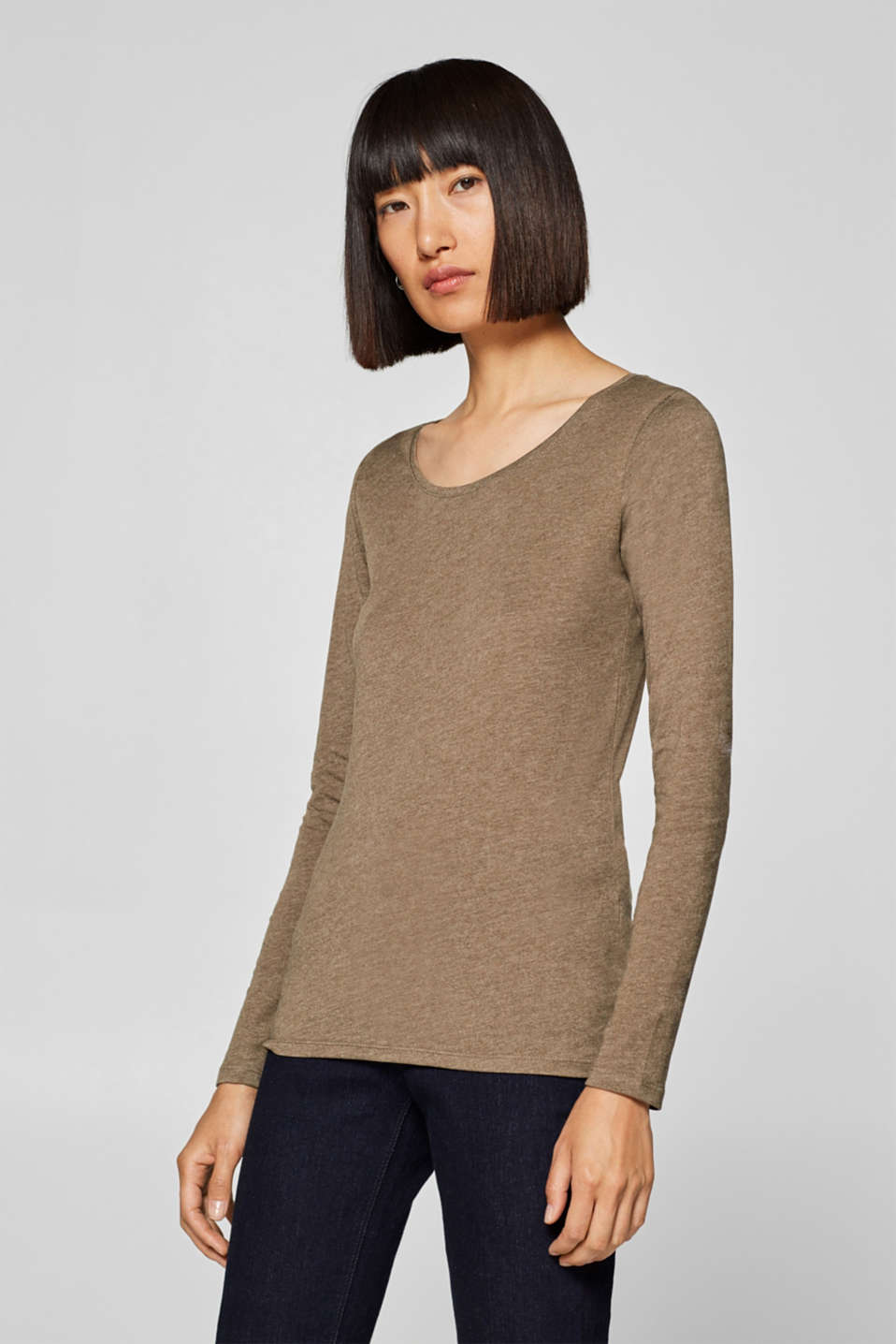 edc - Melange long sleeve top with organic cotton