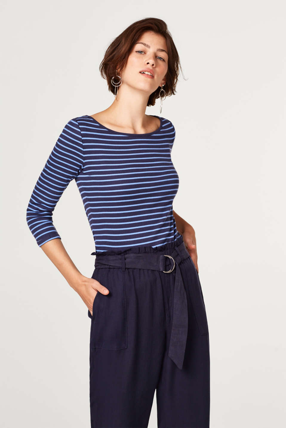 edc - Striped, ribbed top with a bateau neckline