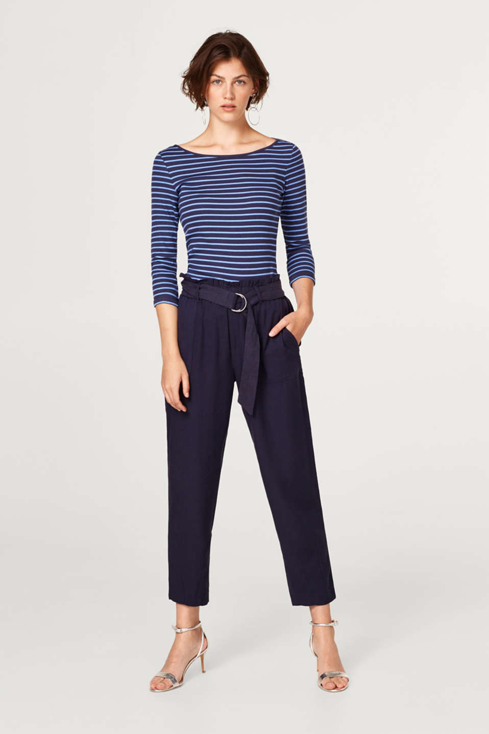 Striped, ribbed top with a bateau neckline
