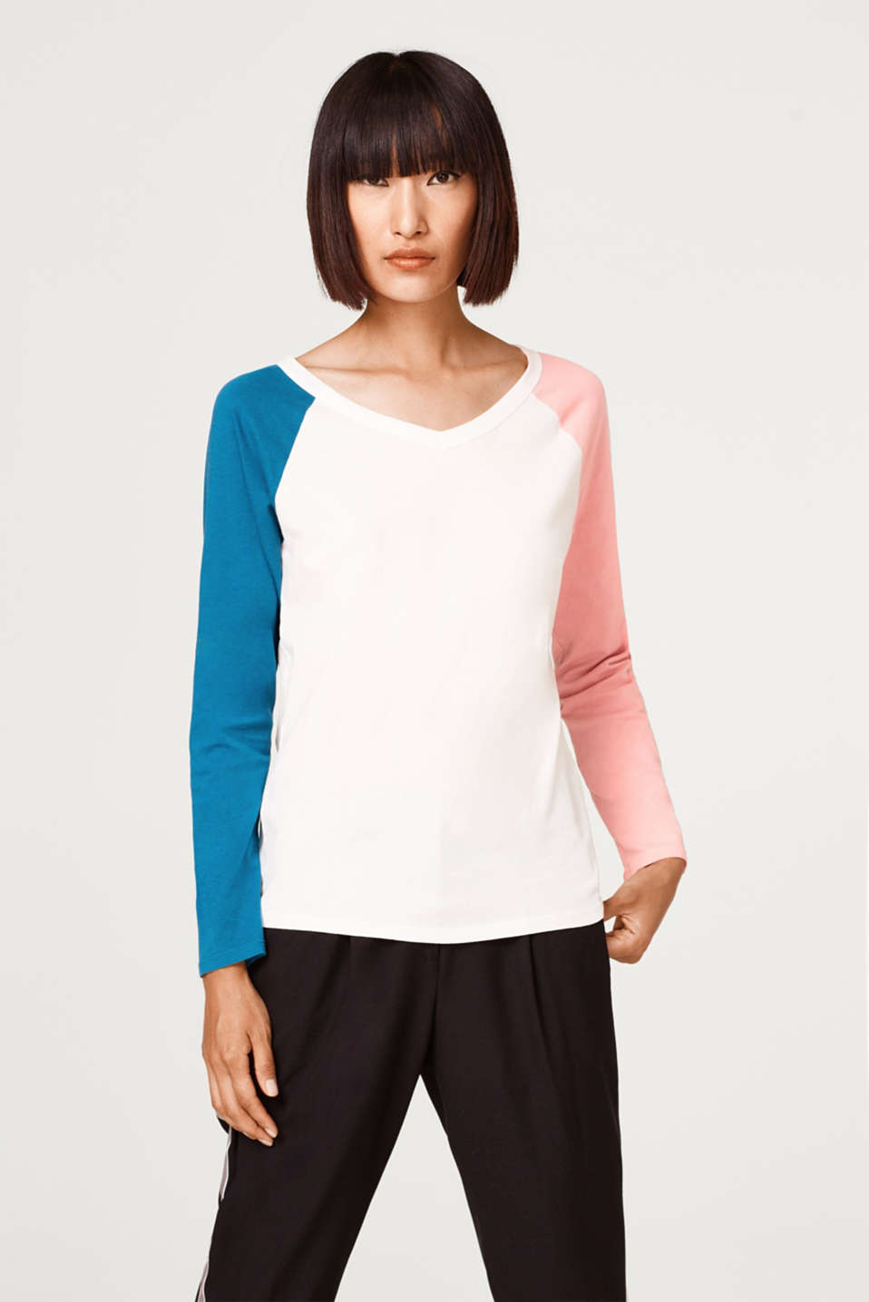 edc - Colour block long sleeve top made of 100% cotton