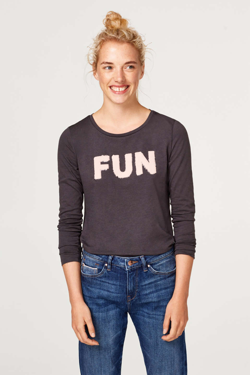 edc - Long sleeve top with a fluffy appliqué