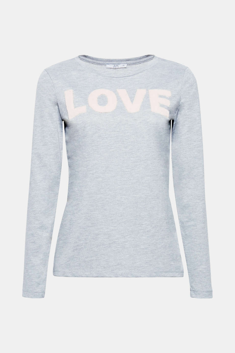 LOVE - With its expressive statement, this melange long sleeve top will be a loving basic with a special fluffy note.