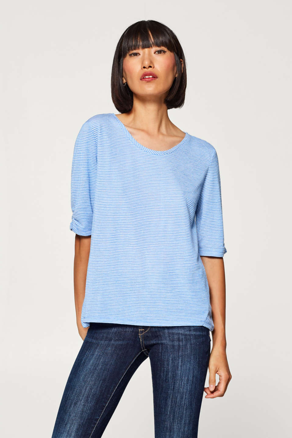 edc - Striped T-shirt with gathered sleeves