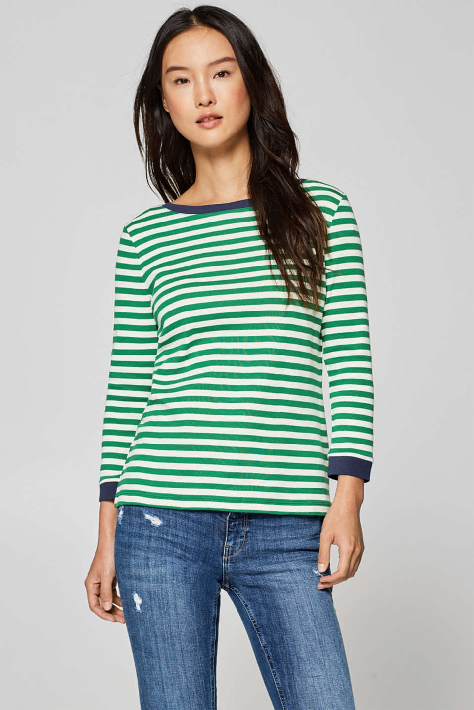 edc - Top with contrasting details, 100% cotton