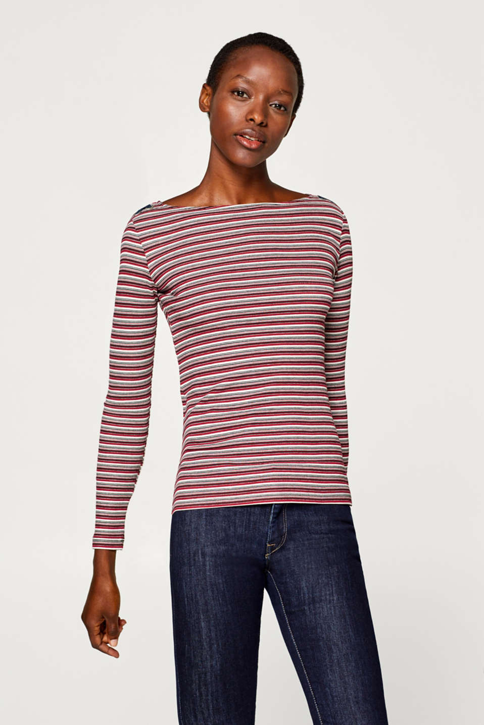 edc - Long sleeve top with stripes and lace-up details