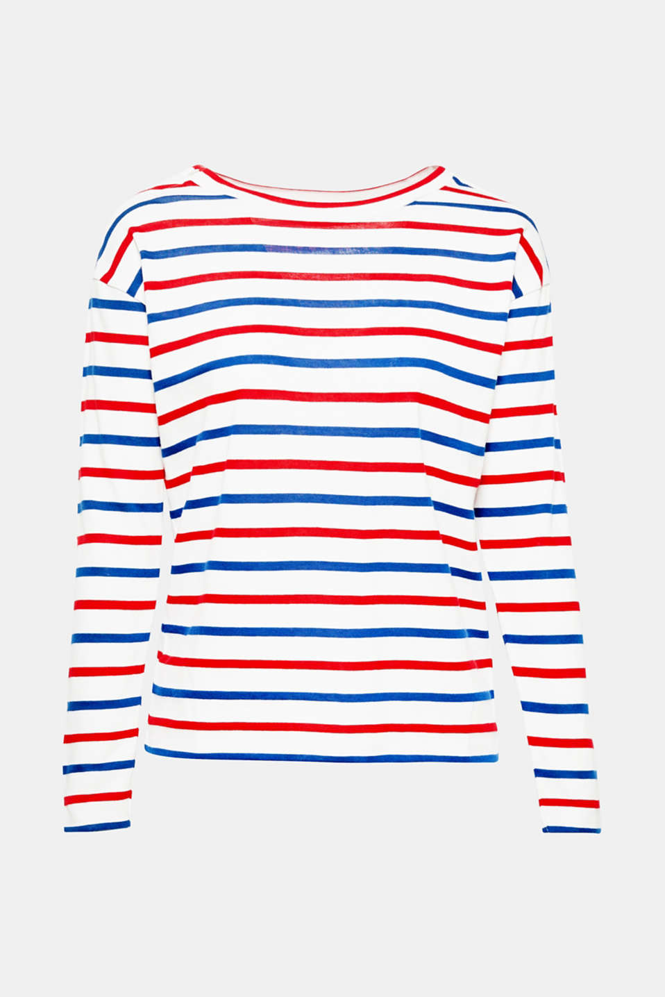 Nautical stripes and the decorative button placket on the left shoulder give this cotton long sleeve top a great look