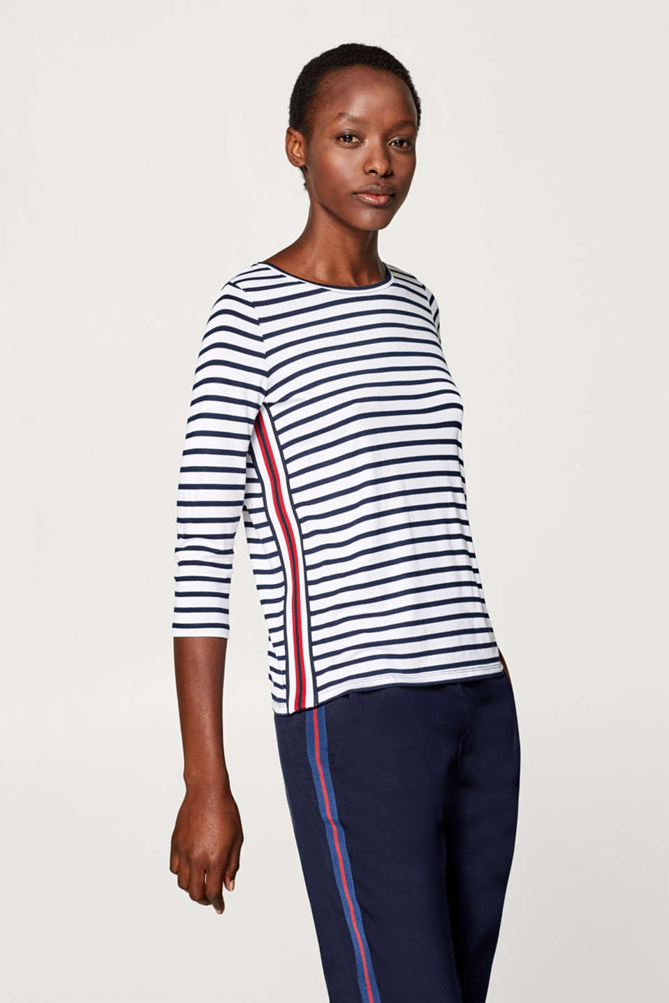 edc - Jersey top with tuxedo stripes