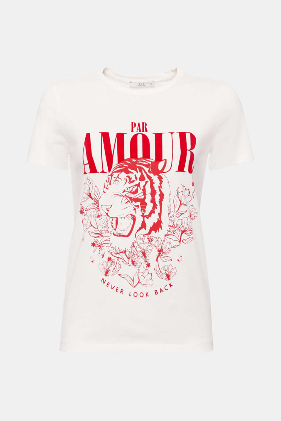 The tiger and love create a striking pair on this printed T-shirt made of 100% cotton.