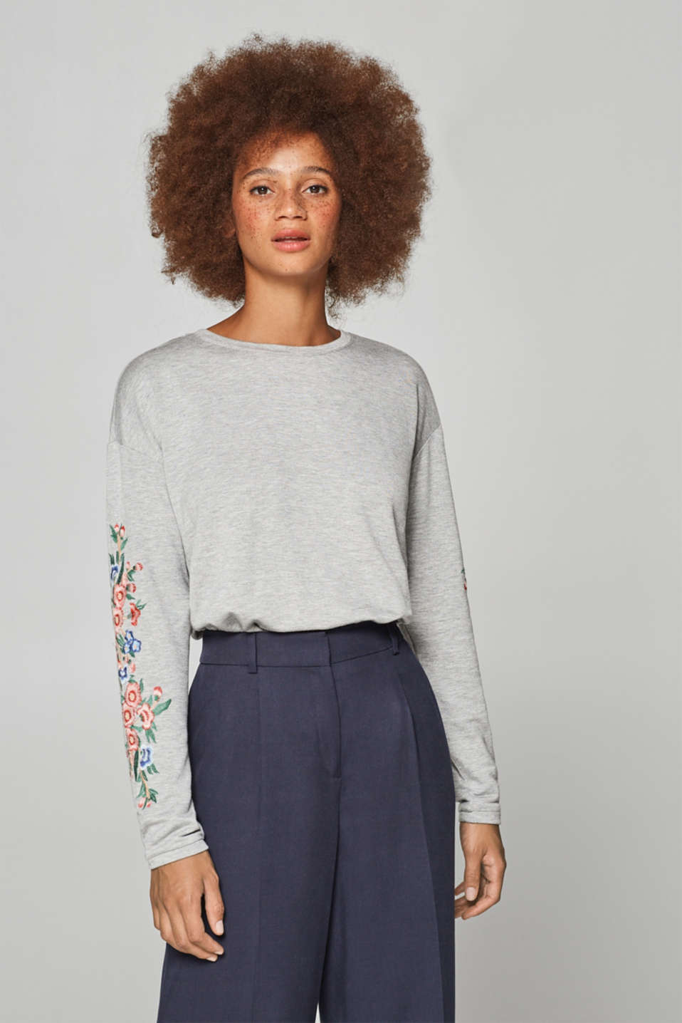 edc - Long sleeve top with embroidery and added stretch