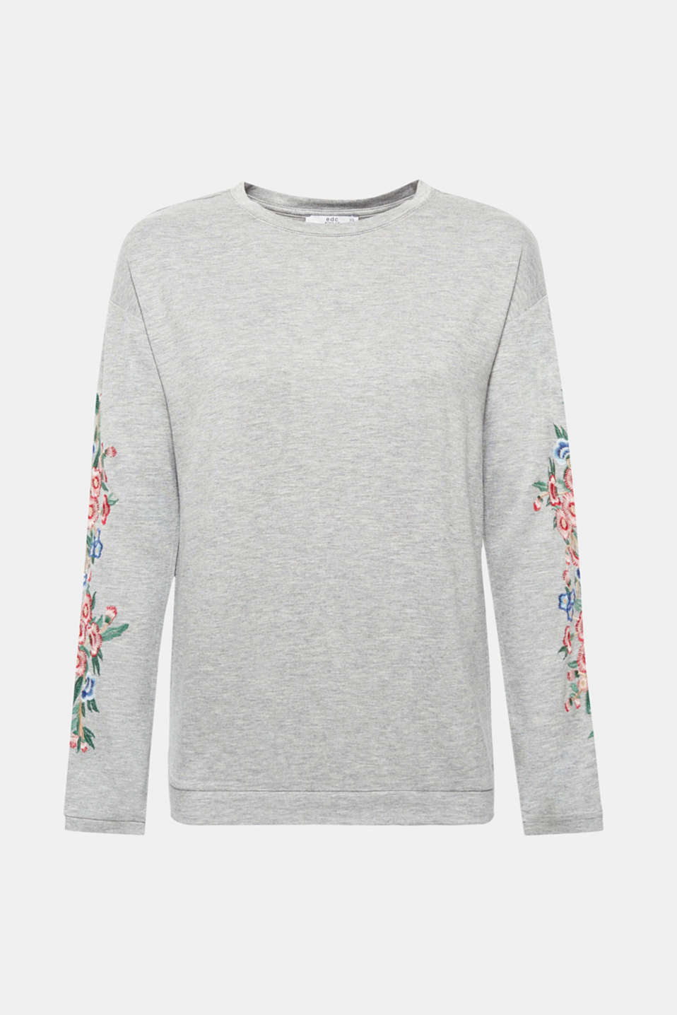 Casual folk style: The colourful floral embroidery on the sleeves gives this soft melange long sleeve top with added stretch for comfort its trendy look!