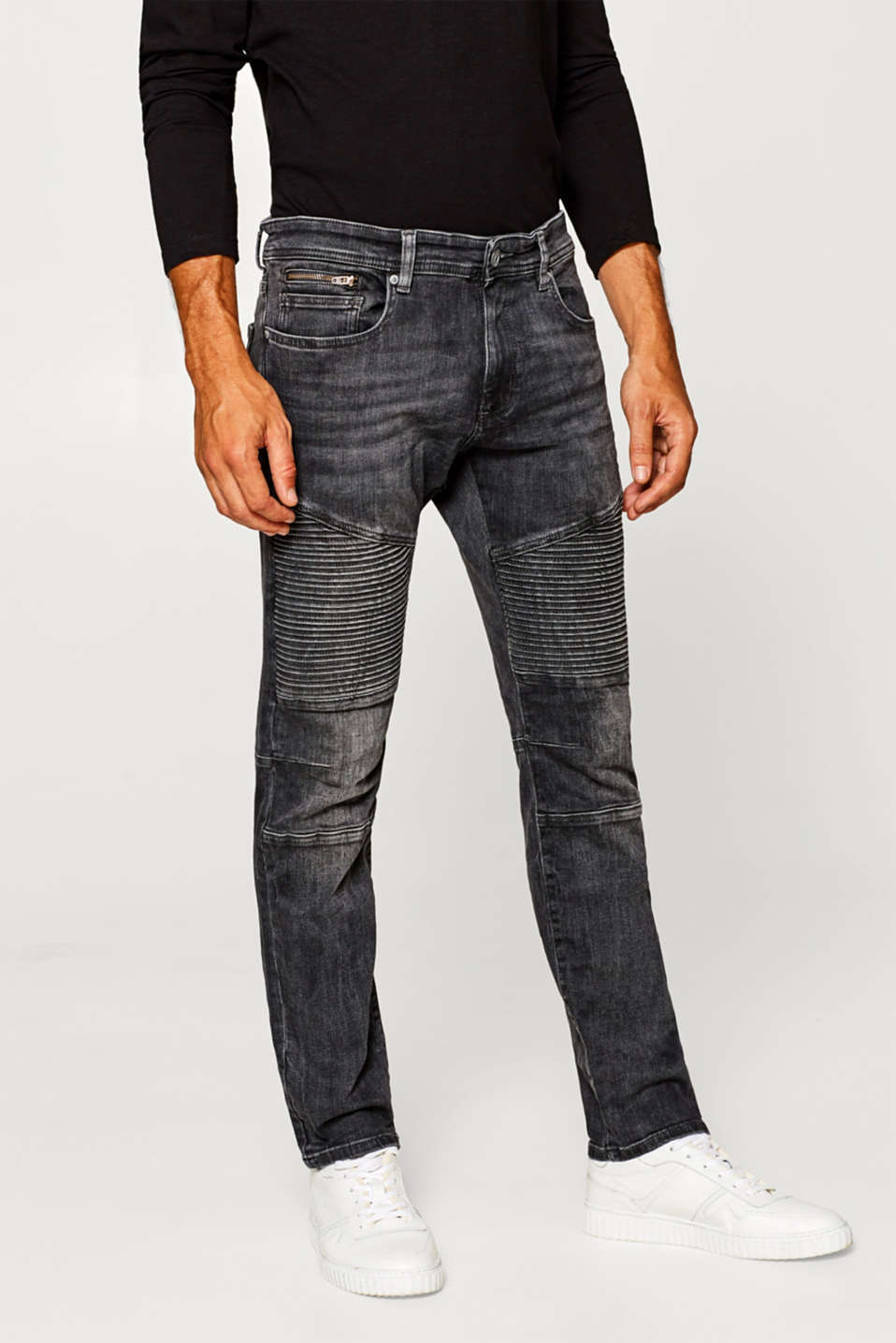 edc - Stretch jeans with biker stitching