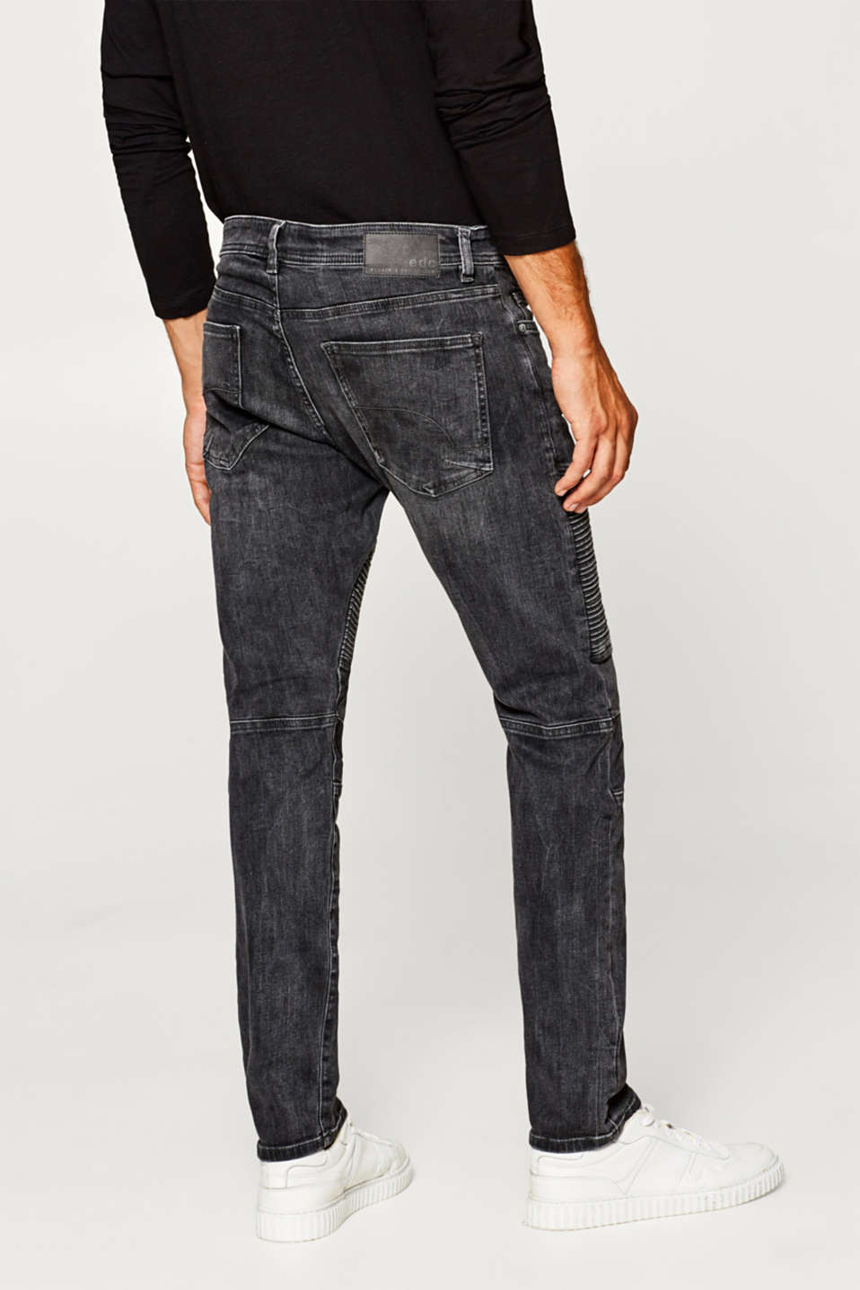 Stretch jeans with biker stitching