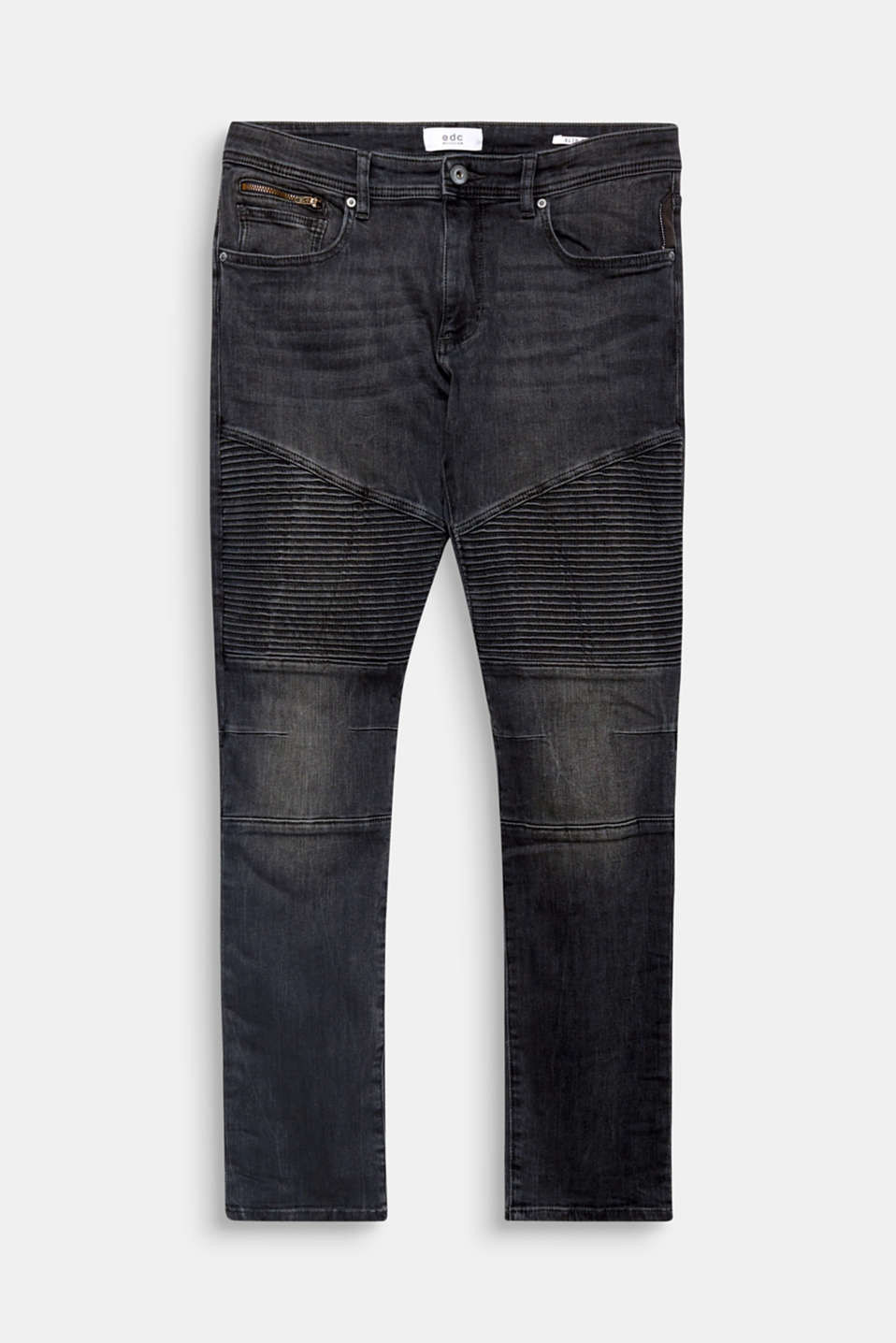 The distinctive biker stitching and the authentic washed-out effects give these jeans with a percentage of stretch their characteristic look.