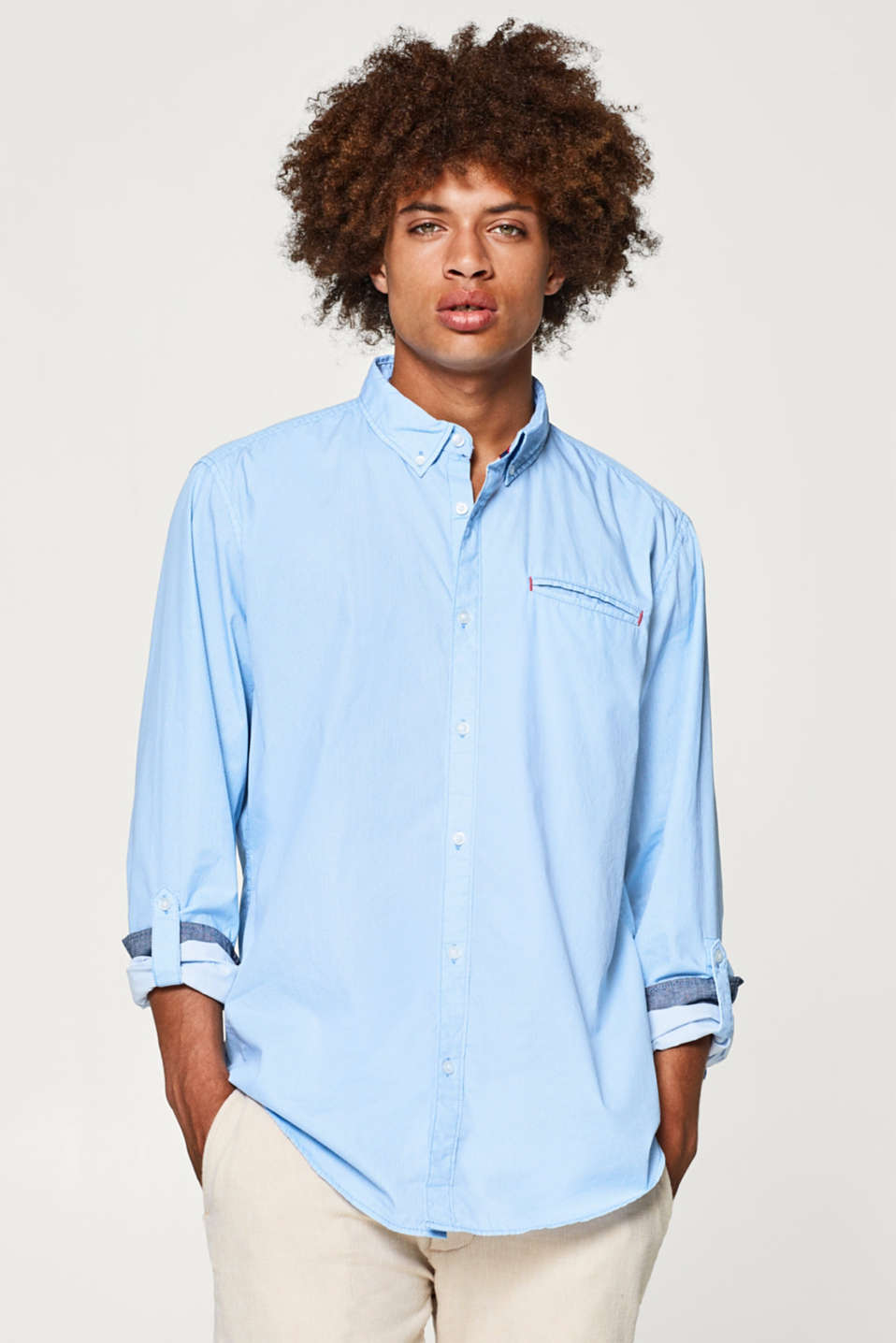 edc - Shirt with button-down collar, 100% cotton