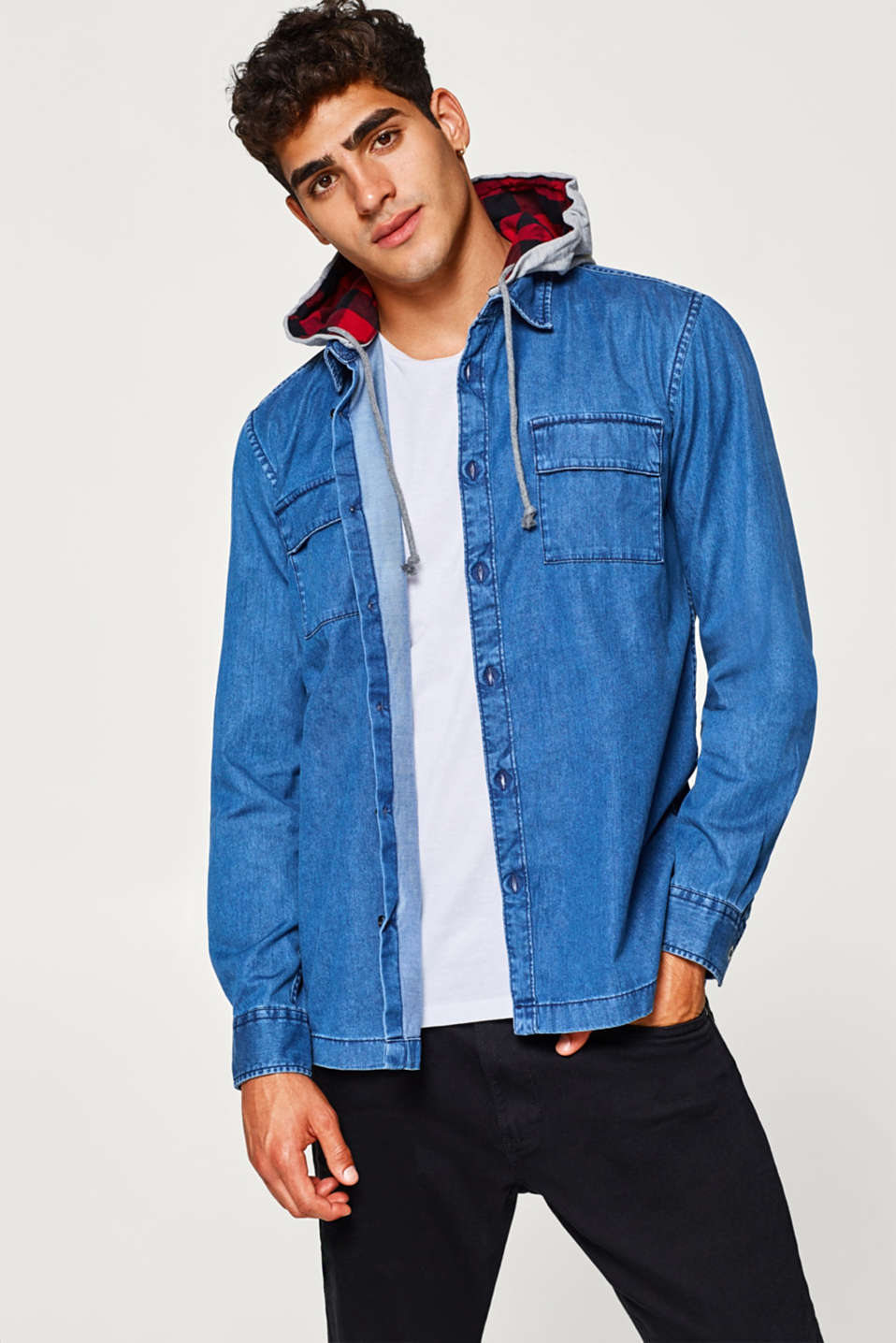 edc - Denim overshirt in 100% cotton