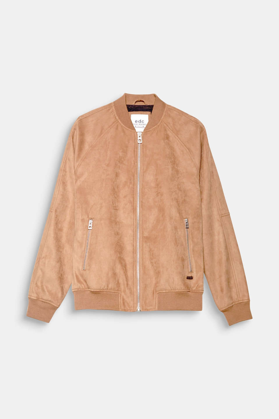 The soft faux suede and sporty cut make this bomber jacket the perfect companion for between seasons.